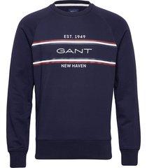 d1. gant stripe c-neck sweat sweat-shirt trui blauw gant