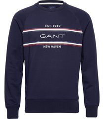 d1. gant stripe c-neck sweat sweat-shirt trui blauw gant