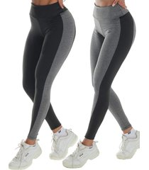 2 calças legging bicolor click mais bonita preto