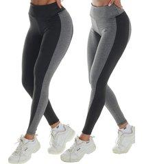 2 calã§as legging bicolor click mais bonita preto - preto - feminino - dafiti