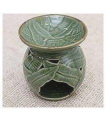 ceramic oil warmer, 'coconut leaves' (indonesia)