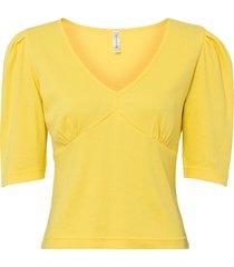 maglia a costine con maniche a sbuffo (giallo) - rainbow