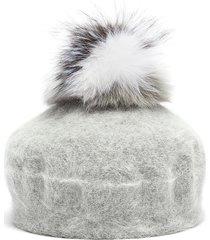 fox fur pompom knit beret