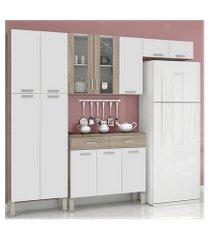 armário para cozinha kits paraná alfa top com 9 portas nogal/nogal white