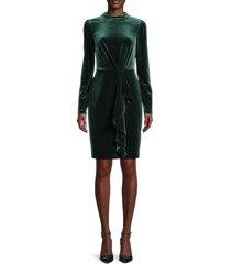 karl lagerfeld paris women's velvet ruffled dress - forest - size 6
