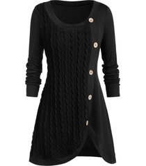 plus size buttoned front slit cable knit sweater
