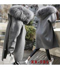abrigo de lana de cuello grande de invierno abrigo de lana mediano y largo