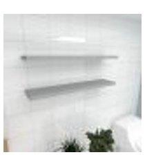 kit 2 prateleiras para banheiro em mdf suporte inivisivel cinza 90x20cm modelo pratbnc26