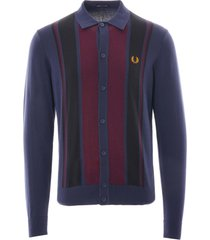 fred perry colour block knitted shirt | dark carbon | k9545-395