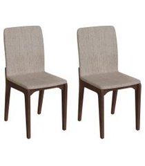 conjunto com 2 cadeiras darwin palha e café