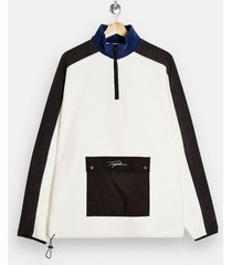 mens cream signature ecru funnel neck fleece sweatshirt
