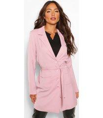 blazer jurk met schouderpads en ceintuur, roze