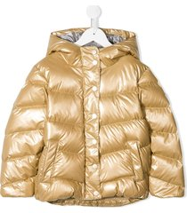 bonpoint padded button-front coat - gold