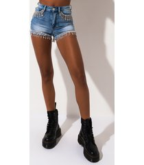 akira palooza high rise rhinestone denim shorts