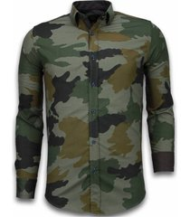 slim fit overhemd - blouse classic army pattern