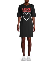 love moschino women's heart logo t-shirt dress - black - size 38 (2)