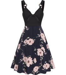 o ring bowknot floral print dress