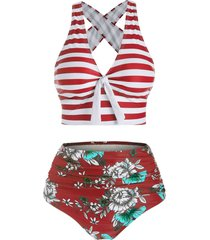 striped tied crisscross tummy control bikini swimwear