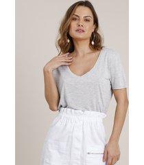 blusa feminina básica longa manga curta decote v cinza mescla