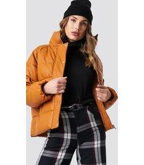 na-kd padded pu leather jacket - brown,orange,copper
