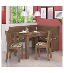 canto alemáo madesa onill com mesa e 2 cadeiras marrom