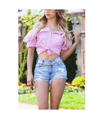 sexy bandjes / offshoulder blouse met volant roze