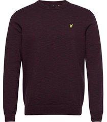cotton knitted crew neck jumper gebreide trui met ronde kraag zwart lyle & scott