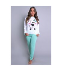pijamas mvb modas longo fechado adulto  inverno verde
