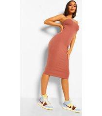 geribbelde strapless midaxi jurk met hartvormige hals, taupe