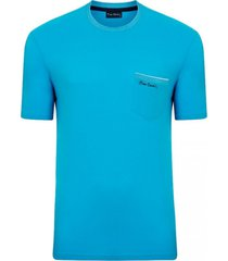 camiseta com bolso azul turquesa top line - kanui