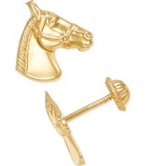 horse head stud earrings in 10k gold