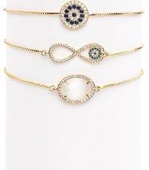 eye candy la women's luxe infinity 3-piece 18k goldplated & crystal adjustable bracelet set