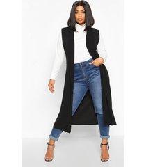 plus getailleerde mouwloze duster jas, zwart