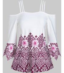 open shoulder cami floral print t shirt