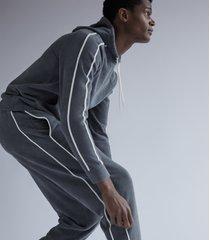 reiss gianni - velour hoodie in sage, mens, size xxl