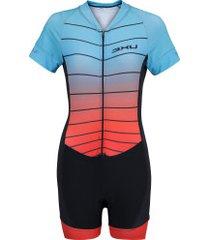 macaquinho de ciclismo refactor martini - feminino - preto/azul cla
