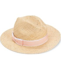 saks fifth avenue made in italy women's ribbon-trimmed straw hat - beige