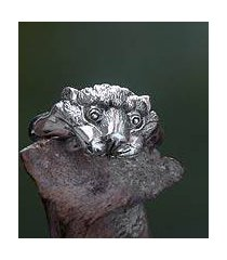 men's sterling silver ring, 'tiger cub' (indonesia)