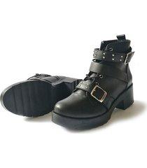 botines negros taches correas valése