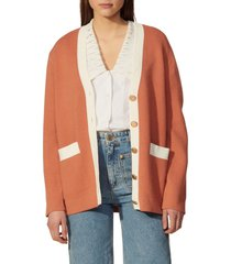 women's sandro contrast detail cardigan, size 4 - red