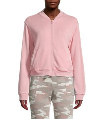 kensie women's bomber jacket - wild orchid - size xl