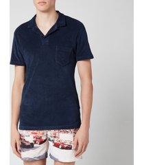 orlebar brown men's terry towelling polo shirt - navy - xl - navy