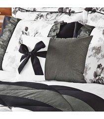 kit edredom vitoria king branco e preto com porta travesseiro floral com 7 peças - tricae