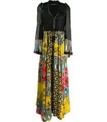 etro patchwork-print long dress - black