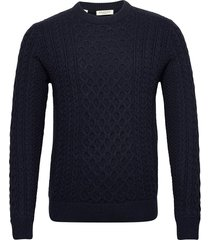slhbenno cable crew neck w gebreide trui met ronde kraag blauw selected homme