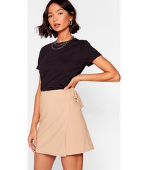 womens wrap it up buckle mini skirt - camel