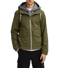 men's selected homme baker hooded utility jacket, size x-large - green