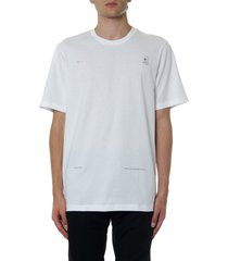 oamc white cotton printed t shirt