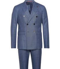 slim fit db suit with turn up pak blauw tommy hilfiger tailored