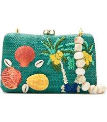 serpui straw clutch bag - green
